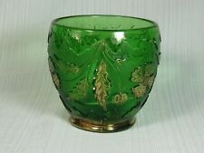 US Glass Delaware Emerald Green Glass Spooner Gold Accents 1891 - 1914 EAPG
