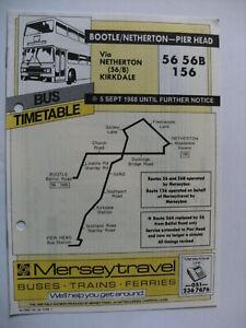 1988 Merseytravel Bus Timetable 56 156 Bootle Netherton Pier Head Liverpool