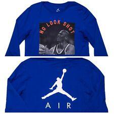 Nike Air Jordan No Look Shot Long Sleeve Shirt Av5994 Blue Medium M