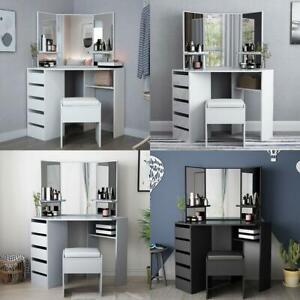 Modern Corner Dressing Table Multi-angle Mirror With Stool Desk 5 Drawers UK