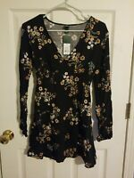 Women's Junior Floral Print Long Sleeve Woven Dress Wild Fable Size XS - NWT