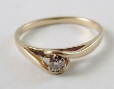100% Genuine 9ct. Solid Yellow Gold 0.10 carats Diamond Solitaire Ring Sz 7 US