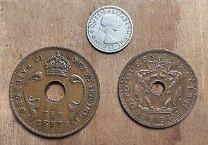 BRITISH COLONIAL AFRICA:- George VI & Elizabeth II, 3 coins dated 1941-63 AP8110