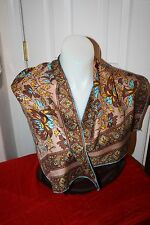 VINTAGE SILK SCARF 1970'S-80'S-HAND ROLLED HEM AQUA, BROWN TAN-GREAT COND.