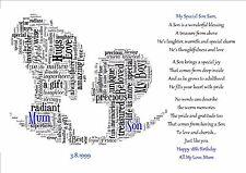 16th 18th 21st GIORNO DI COMPLEANNO FIGLIA MAMMA FIGLIO Word Art Personalizzata regalo ricordo