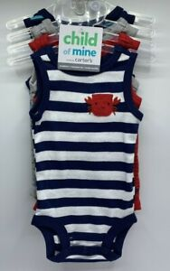 Infant Boys Size NB 3M 6M 9M 4 Pack Sleeveless Bodysuits Crab Sharks Carter's