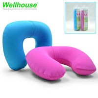 Portable Sleep Nap Inflatable Travel Pillow Car Neck Rest U-Shaped Air Cushion