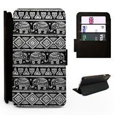 Aztec Elephant Pattern Black - Flip Phone Case Cover - Fits Iphone / Samsung