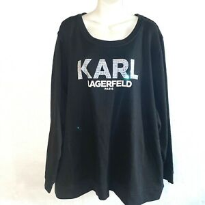 Karl Lagerfeld Womens Shirt Black Pullover Long Sleeve Logo Size 3X A17