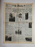 N801 La Une Du Journal Le Matin 24 août 1939 pacte Germano soviétique signé