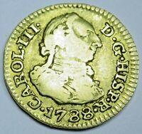 Authentic 1788 Spanish Gold 1/2 Escudo Old Antique Pirate Doubloon Treasure Coin