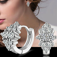 Women's Crystal Silver Plated Ear Stud Hoop Earrings Jewelry Gift