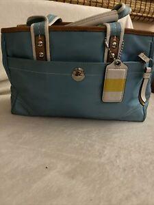 Spring Light Blue Canvas Coach Bag