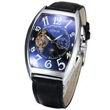 Sewor Fashion Mens Moon Phase Tonneau Mechanical Automatic gents Wrist watch 577