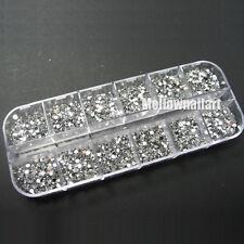 3600 Clear Silver Gems Nail Art DIY Round Flat Rhinestones 2MM Glitter Case Deco