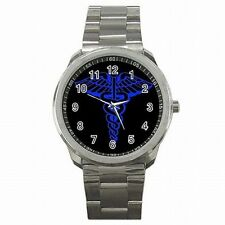 EMT Paramedic Medical Badge Men's Stainless Steel Watch New!