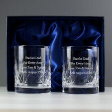 Personalised Engraved Pair Crystal Cut Tumber Set With Presentation Box Whiskey
