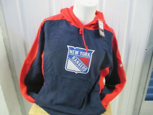 VINTAGE REEBOK NHL FACE-OFF NEW YORK RANGERS SEWN LARGE SWEATSHIRT HOODIE NWT