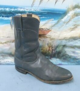 Justin Roper Mens Cowboy Boots 3025  Size 8 D Gray Leather