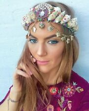 Multi Color Arco Iris empedrado Sea Shell Sirena Corona Hair Head Band Choochie