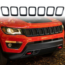 Front Grille Rings Insert Gloss Black Cover Trim Fit for 2017-2020 Jeep Compass