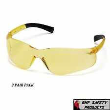 SMALL SIZE SAFETY GLASSES AMBER LENS YOUTH PYRAMEX MINI ZTEK S2530SN (3 PAIR)