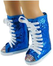 Electric Blue Glitter Knee High Tops Sneaker Boots fit American Girl Doll
