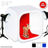 "Photography Photo Studio 24"" Lighting Tent Kit Backdrop Cube In A Box &Carry bag"