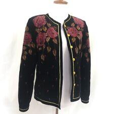 Vintage 1980s Saxon Hall Black Velvet Floral Blazer Jacket M