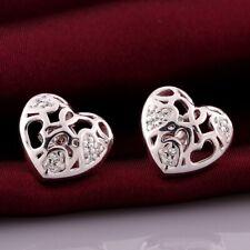 Stud Earrings Inlay Zircon Stunning Gifts 925 Silver Filled Cute Filigree Heart