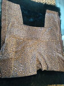 Fabletics Power Hold  Leopard Print Pink Tan Crop Leggings Mesh Pockets S
