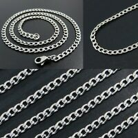 "3mm Wide Stainless Steel Mens & Womens Curb Chain - 16"" to 36"" Silver Necklace"