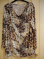NEW DAMART CREAM/MULTI COWL NECK TUNIC SIZE 18/20