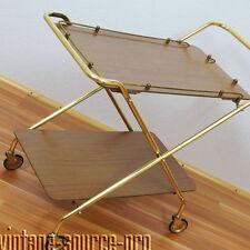 alter 50er Jahre Messing Resopal Roll Teewagen Klappptisch Beistelltisch Dinett