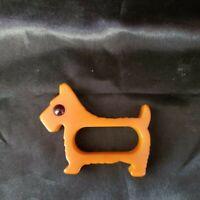 VINTAGE CATALIN BAKELITE BUTTERSCOTCH SCOTTIE DOG NAPKIN RING 1950s