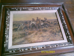 Charles Russell Signed HEADING THE RIGHT WAY Framed Oil Repro Painting - Art