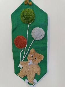 Vtg Handmade Bear And Balloon Wall Hanging  latch hook burlap 23x9