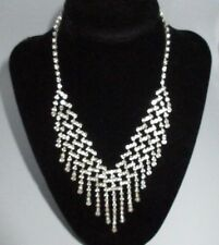 Statement Rhinestone Crystal Collar Necklace Dangle Chains Silver Tone Shiny