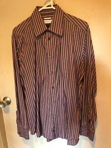 VERSACE Pink Grey Striped Business Shirt Size 39