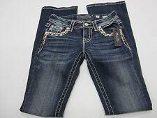 Miss Me Ladies/' White /& Tan Stitching Bling Medium Wash Bootcut Jeans JP7306B