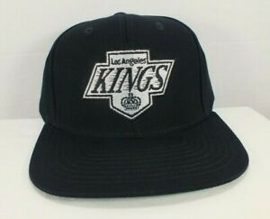Los Angeles LA KINGS Snapback Hat Script Black NHL Retro VTG Hockey EAZY Cap NEW