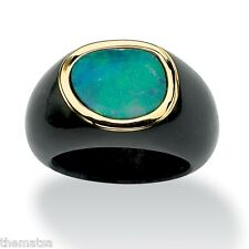 10K GOLD BLUE OPAL AND BLACK  JADE RING SIZE  6,7,8,9,10  FREE SHIPPING