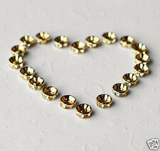 20 pcs Rhinestone Crystal Roundelle Gold Plated Spacer 10mm Bead Caps AC033