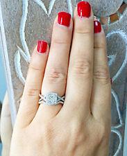 1.25 Carat 14k White Gold Princess Cut Diamond Engagement Ring And Band Halo