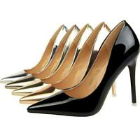 Women Classic Pumps Patent Leather Pointed Toe Slip On Stilettos High Heel Shoes
