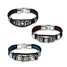 3pcs Vintage Leather Zen Wristband Mens Womens Girls Boy Cuff Bangle Bracelets