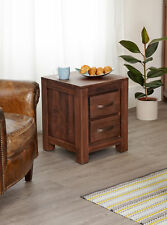 Baumhaus Mayan Walnut Two Drawer Lamp Table