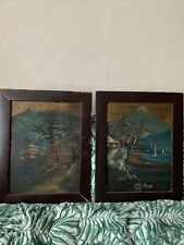 More details for antique pair japanese relief paintings meiji period? laquer frame mt fuji asian