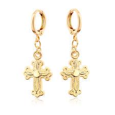 Luck Cross Gold Plated Girls Kids Small Dangle Hoop  Earrings Jewelry