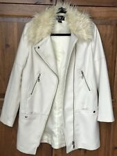 H&M white wool faux fur collar zip coat 6
